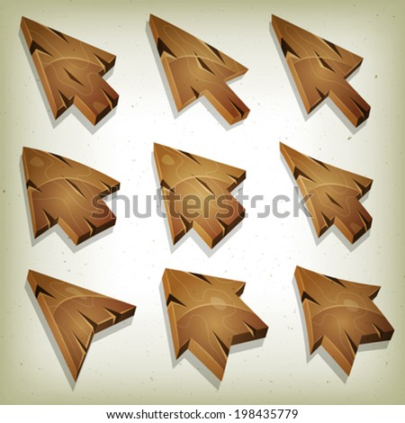 Cartoon Wood Icons, Cursor And Arrows/ Illustration of a set of funny cartoon design wooden computer icons, cursor and arrows signs for funny ui game environment, with vintage retro texture effect - stock vector