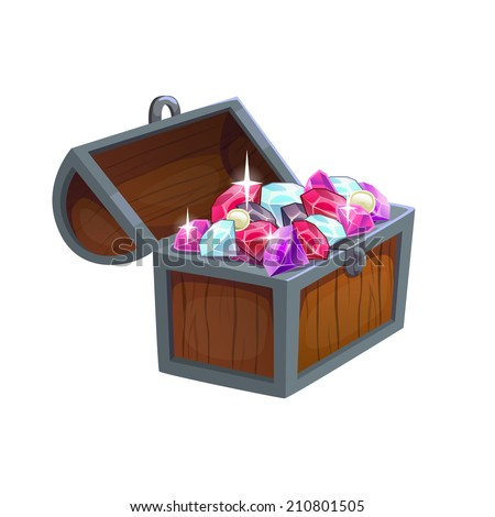 Cartoon wooden chest with diamonds, isolated vector - stock vector