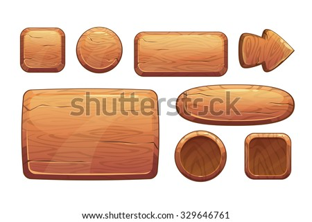 Cartoon wooden game assets, wood kit for game ui development, vector gui elements - stock vector