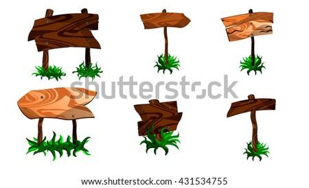 Cartoon wooden plaque. Wooden pointers.Wooden boards in grass. - stock vector