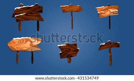 Cartoon wooden plaque. Wooden pointers.Wooden boards in snow. - stock vector