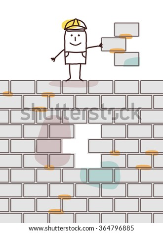 cartoon worker holding a piece of wall - stock vector