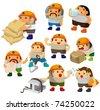 cartoon worker icon - stock
