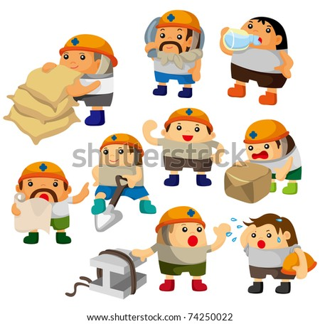 cartoon worker icon - stock vector