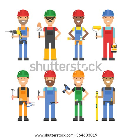 Cartoon workers and other tools under construction vector illustration. Vector cartoon flat people under construction isolated on white background - stock vector