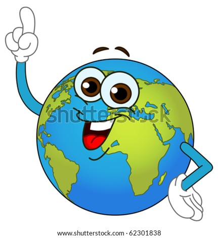 Cartoon world globe pointing with his finger - stock vector