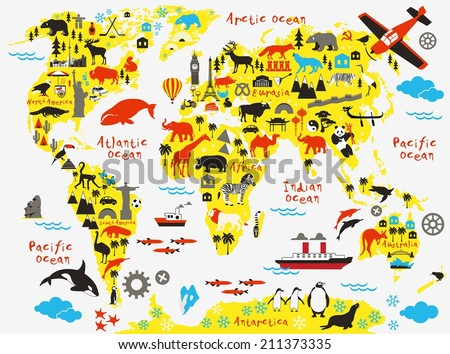 Cartoon world map - stock vector