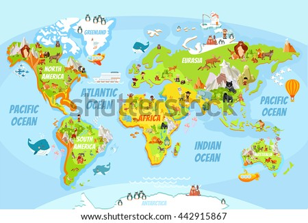 Cartoon world map funny animalssea creaturesvarious vector de cartoon world map with a lot of funny animalssea creaturesvarious landscapes and gumiabroncs Choice Image
