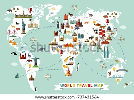 Cartoon world map animal sightseeing attractions stock photo photo cartoon world map with animal and sightseeing attractions vector illustration gumiabroncs Image collections