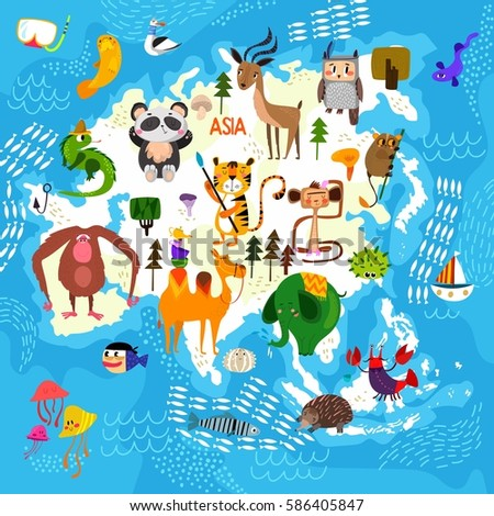 Cartoon world map traditional animals illustrated vector de cartoon world map with traditional animals illustrated map of asiactor illustration for children gumiabroncs Image collections