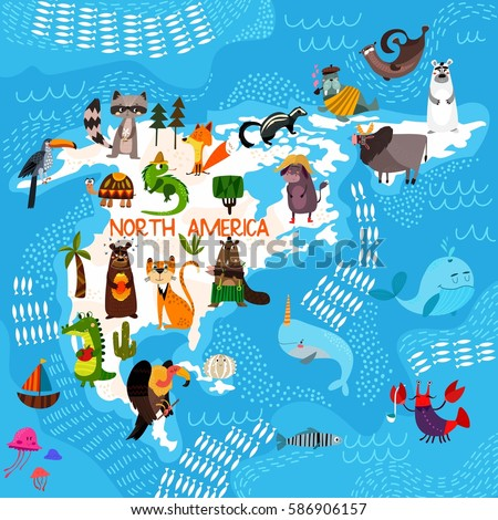 Cartoon world map traditional animals illustrated stock vector cartoon world map with traditional animals illustrated map of north americactor illustration for gumiabroncs Gallery