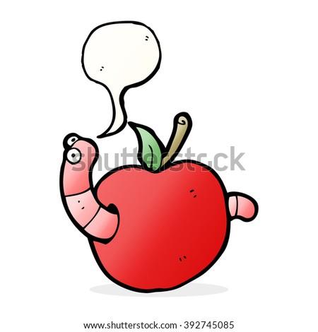 cartoon worm in apple with speech bubble - stock vector