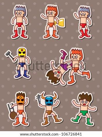 cartoon wrestler stickers - stock vector