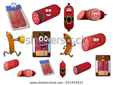Cartoon wurst, sausage and salami characters with various forms and packaged sliced products - stock vector