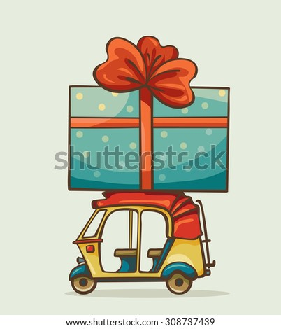 Cartoon yellow auto rickshaw with big blue present box. Vector celebration image.  - stock vector