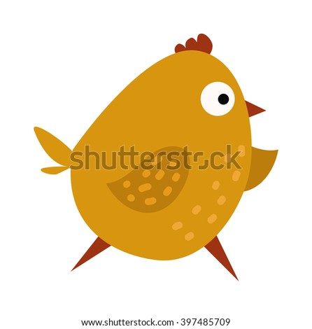 Cartoon yellow chick and running cartoon chick. Cartoon chick little character and funny small young hen animal. Cute chicken cartoon waving running yellow farm bird vector illustration.  - stock vector