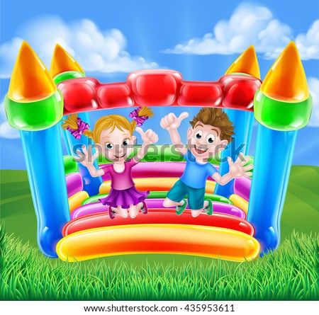 Cartoon young boy and girl having fun jumping on a bouncy castle - stock vector