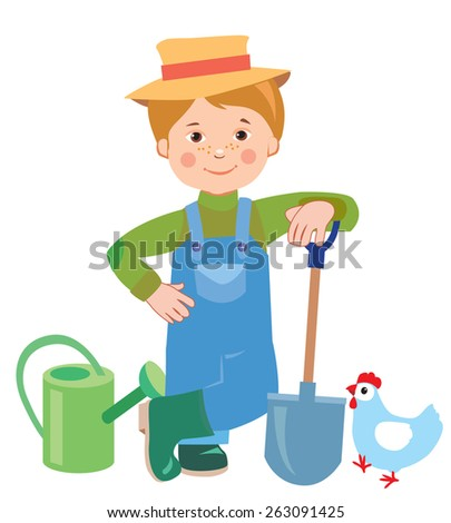 Cartoon Young Farmer. Watering Can, Shovel, Farmer. Farmer Works, Employee. Vector Illustration On White Background. A Hen. Vector Hat. Nature And The Farmer. Farmer Spring. Farmer's son Cultivate. - stock vector