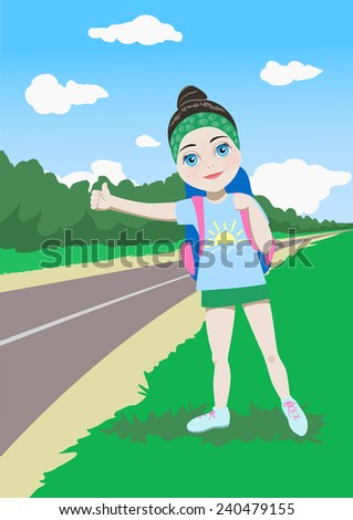 Cartoon young  girl traveler stoping a ride near the road. Hitch-hiking - stock vector