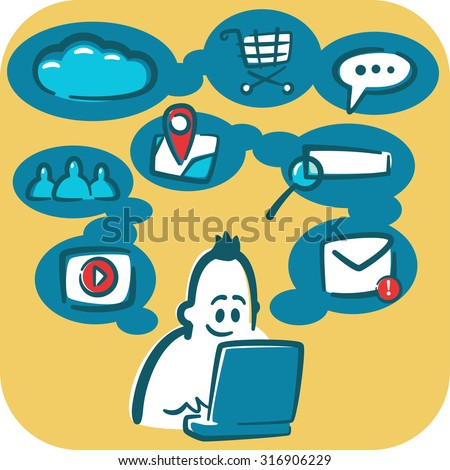 Cartoon young man browsing the internet using laptop. Social and media icons around it. - stock vector