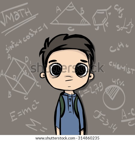 cartoon young school boy in classroom exam - stock vector