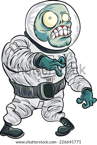 Cartoon zombie astronaut. Isolated on white - stock vector