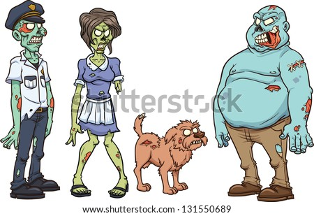 Cartoon zombie characters. Vector clip art illustration. Each in a separate layer. - stock vector