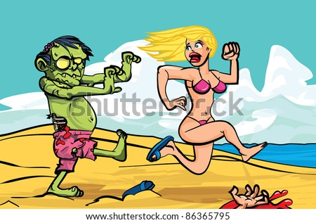 Cartoon zombie chasing a bikini girl on the beach - stock vector