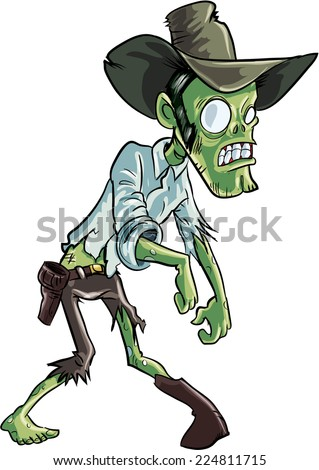Cartoon zombie cowboy. Isolated on white