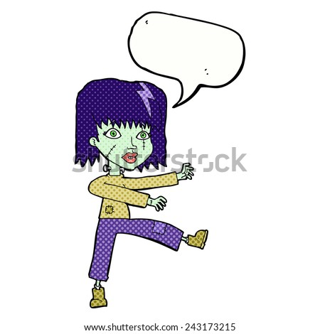 cartoon zombie girl with speech bubble - stock vector