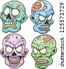 Cartoon zombie heads. Vector clip art illustration with simple gradients. Each in a separate layer. - stock vector