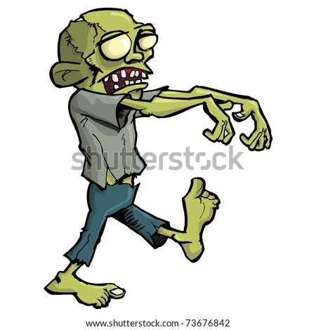 Cartoon zombie isolated on white. He is lurching with his arms out stretched - stock vector