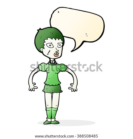 cartoon zombie monster woman with speech bubble - stock vector
