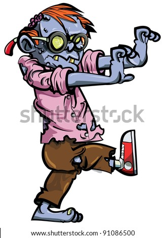 Cartoon zombie nerd with glasses. Isolated on white - stock vector