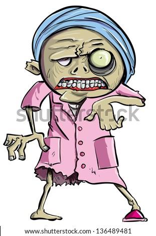 Cartoon zombie old lady - stock vector