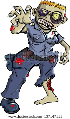 Cartoon zombie police woman, isolated on white - stock vector