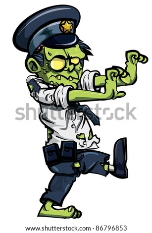 Cartoon zombie policeman isolated on white - stock vector