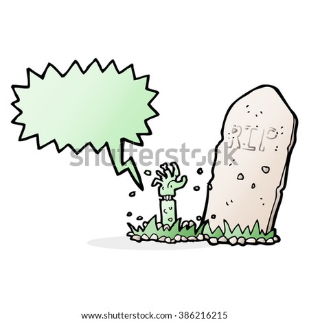 cartoon zombie rising from grave with speech bubble - stock vector