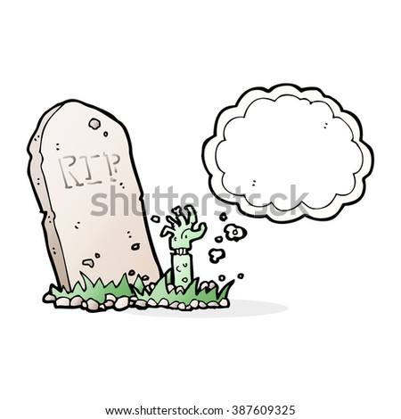 cartoon zombie rising from grave with thought bubble - stock vector