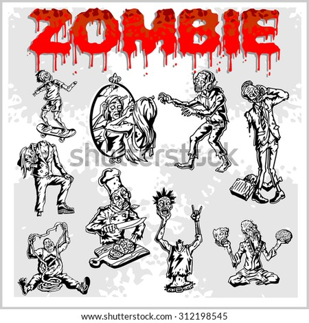 Cartoon zombie. Set of color drawings of zombies. - stock vector