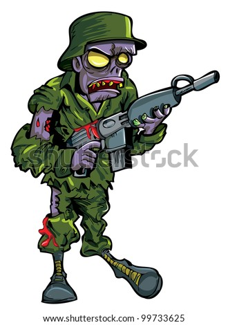 Cartoon zombie soldier with a gun. Isolated on white - stock vector