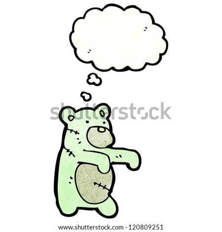 cartoon zombie teddy bear - stock vector