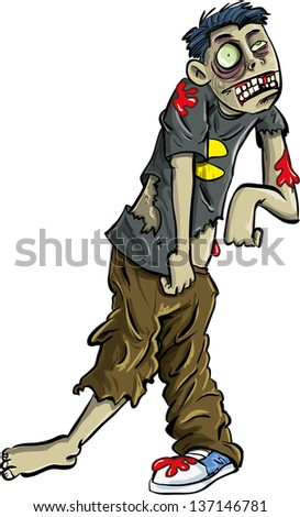 Cartoon zombie teenager with ripped clothes. Isolated on white  - stock vector