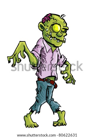 Cartoon zombie with brains exposed isolated on white - stock vector