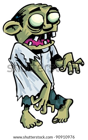 Cartoon zombie with exposed brain. Isolated on white - stock vector