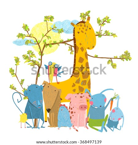 Cartoon Zoo Friends Animals Group. Funny zoo and farm animals sitting together under the tree. Vector illustration.  - stock vector
