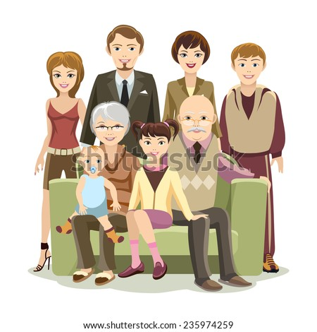 Cartooned Big Happy Family Picture at the Couch Graphic Design on White Background - stock vector