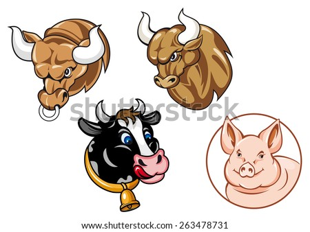 Cartooned farm animals heads including angry bulls with big curved horns, funny spotted cow with bell and cute pig in round frame - stock vector