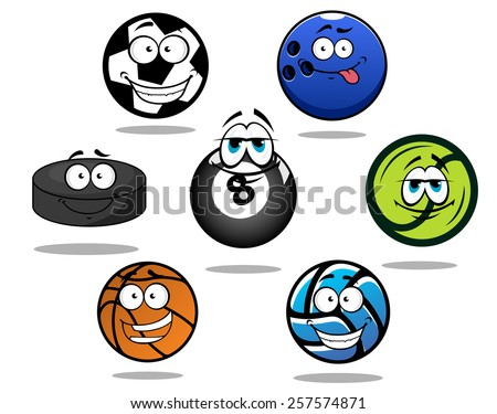 Cartooned funny sporting balls and puck for football or soccer, ice hockey, volleyball, basketball, bowling, tennis, billiard with shadows  - stock vector