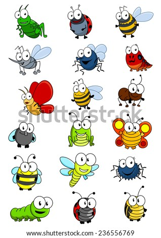 Cartooned insects set with bee, wasp, hornet, caterpillar, grasshopper, ladybug, fly, worm, butterfly, dragonfly, ant, spider and bug